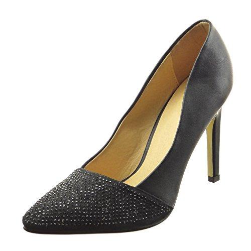 Sopily - Sapatos Da Moda Das Mulheres Bombear Stiletto Dekollete Strass Preto Bi-prima