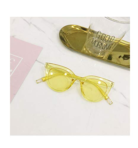 Korea Opal White Frame Sunglasses Women Girls Style Little face Makeup Glasses Fashion Sunglasses (Yellow Metal Elliptical Mirror Leg