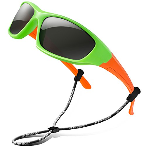 RIVBOS Rubber Kids Polarized Sunglasses With Strap Glasses Shades for Boys Girls Baby and Children Age 3-10 RBK003(Green)