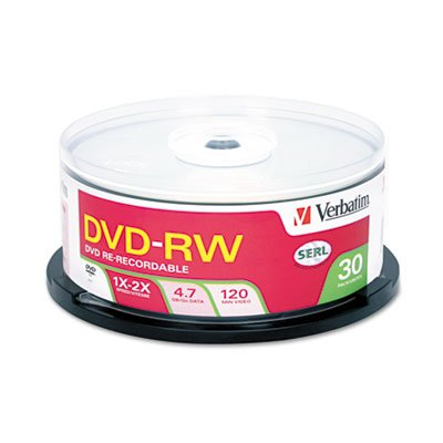 DVD-RW Discs, 4.7GB, 4x, Spindle, 30/Pack, Sold as 1 Package, 30 Each per Package
