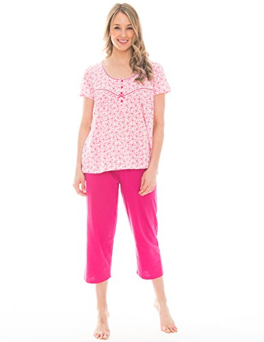 Pink Lady Women's 2 Piece Capri and Tee Lightweight Cotton Pajama Set (Barley Pink Butterfly, XX-Large)