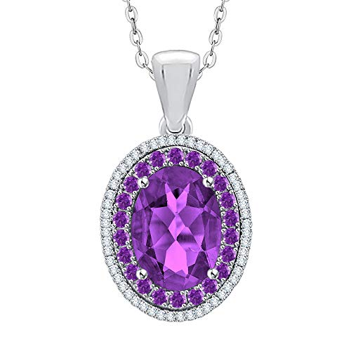 (KATARINA Diamond and Oval Cut Amethyst Pendant Necklace in Sterling Silver (6 1/5 cttw) (G-H/I2-I3))