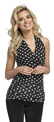 Halter Empire Top Shirt (Glamour Empire Women's Halterneck Wrap Top with Ruching Sleeveless Close Fit 167 (Black with Dots, US 14, 4XL))
