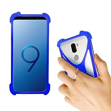Lankashi Blue Stand Ring Holder Soft Silicone Phone Case Cover for Unimax  UMX U683CL Ans Ul40 UL50 L50 u452tl U683CL U504TL U673c / Orbic Wonder