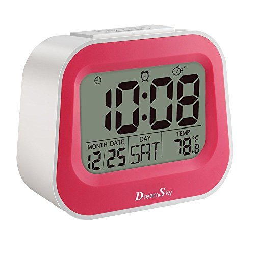 DreamSky Digitalwecker mit Naturklängen, Kinderwecker mit einstellbarer Schlummerzeit, Hintergrundbeleuchtung und AC Stecker, Pink