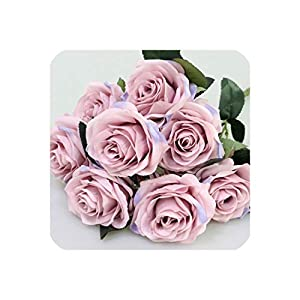 Artificial Silk 1 Bunch French Rose Floral Bouquet Fake Flower Arrange Table Daisy Wedding Flowers Decor Party Accessory Flores,Lilac Pink 26