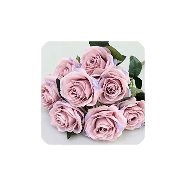 Artificial Silk 1 Bunch French Rose Floral Bouquet Fake Flower Arrange Table Daisy Wedding Flowers Decor Party Accessory Flores,Lilac Pink