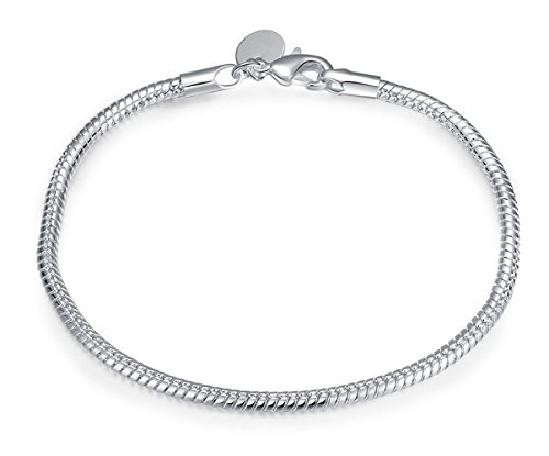 Cutesmile Fashion Jewelry 925 Sterling Silver 3mm Snake Cable Bracelet with Lobster Clasp -