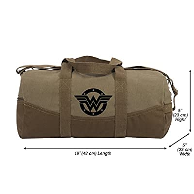 0d3f78d13170 Wonder Woman logo Two Tone Brown 19� Canvas Duffel Bag with ...