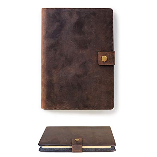 Full Grain Premium Leather Refillable Journal Cover with A5 Lined Notebook, Pen Loop, Card Slots, Brass Snap by Case ()