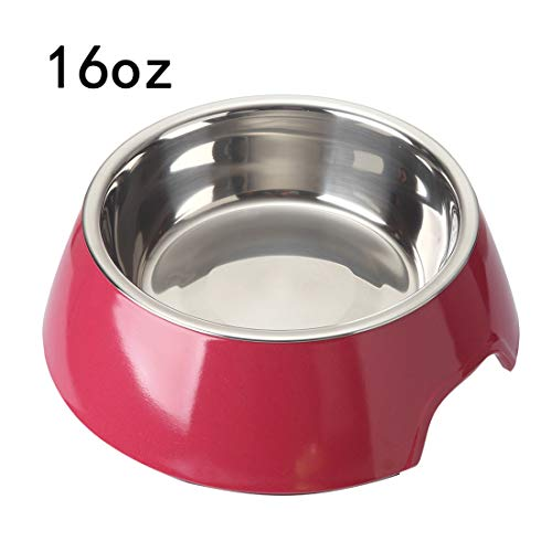 Mainstreet Dog Bowls Stainless Steel and Bamboo Water and Food Feeder with Stand Animal Pet Food Holder Eco-Friendly for Dogs Cats (Red, Large) ()