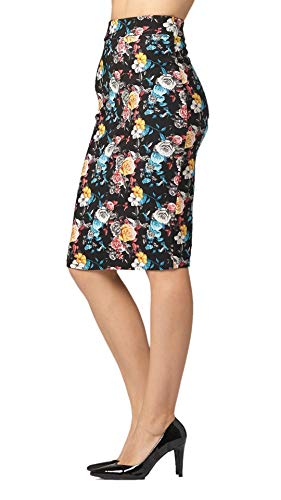 Premium Stretch Pencil Skirt for Women with Slit - Pull On Elastic Waistband - Bodycon Midi Skirts - Floral Springs Present - Medium