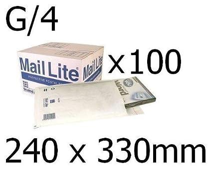 Mail Lite White Bubble Postal Bags Envelopes G//4 240 x 330 mm Bx 50
