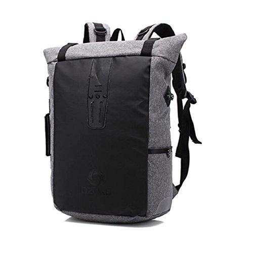 Z&N Backpack Multi-funcional bolso de hombro casual la moda creativa mochila de viaje bolsas de la escuela deportes mochila senderismo escalada hombres y mujeresblue18L gray