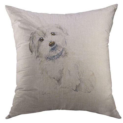 - Mugod Decorative Throw Pillow Cover for Couch Sofa,White Puppy Maltese Dog Portrait Small Watercolor HDrawn Cute Drawing Home Decor Pillow Case 18x18 Inch