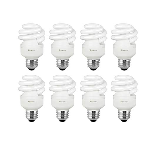 (Compact Fluorescent Light Bulb T2 Spiral CFL, 4100k Cool White, 9W (40 Watt Equivalent), 540 Lumens, E26 Medium Base, 120V, UL Listed (Pack of 8))