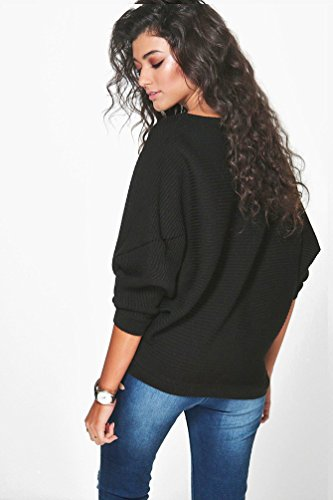 WanYang Mujer Batwing Manga Suelto Suéter Pull-over Casual Parte Blusa Pullover Tops Prendas de punto Negro