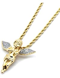 Mens Gold-Tone Stardust Long Wings Angel Pendant Hip-hop...
