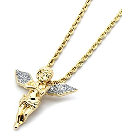 Mens Gold-Tone Stardust Long Wings Angel Pendant Hip-hop with 4mm 24