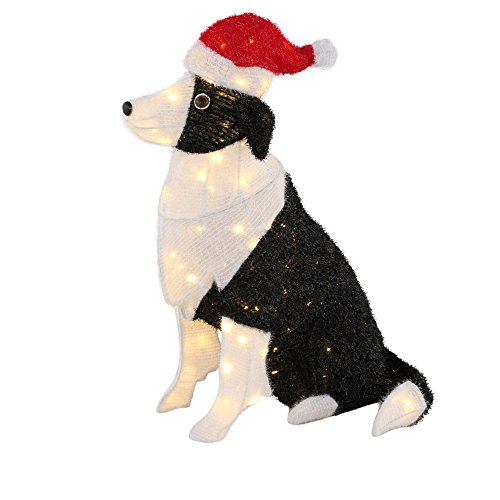 30 in. 150-Light Tinsel Dog with Santa Hat by Home Accents Holiday