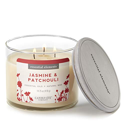 - Essential Elements by Candle-Lite Company Scented Jasmine & Patchouli 3-Wick Jar Candle, 14.75 oz, Off Off White