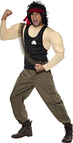 Smiffy's Men's Rambo Costume, Top & Trousers, Wig, Scarf, Bullet Belt & (Rambo Halloween Costumes)