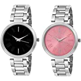 Unique Collection Casera Analogue Pink Dial Women's Watch (Silver) - Pack of 2
