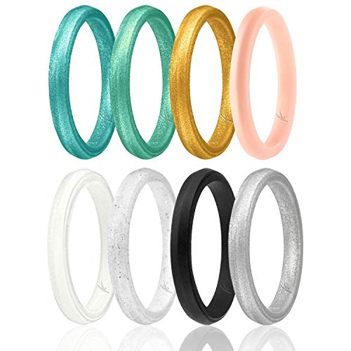 ROQ Silicone Wedding Ring for Women, Set of 8 Thin Stackable Silicone Rubber Wedding Bands Point - Turquoise, Pink, Purple, Black, White, Silver - Size 9 ()