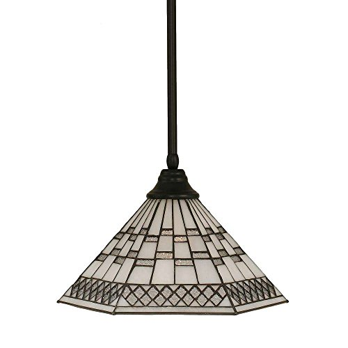Toltec Lighting 26-MB-910 Stem Pendant with Hang Straight Swivel with 16″ Pewter Tiffany Glass, Matte Black Finish