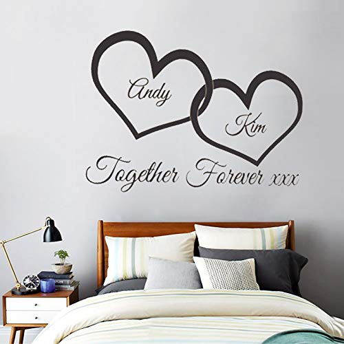 Together Forever XXX Entwined Love Hearts Personalised Wall Art Vinyl Couple Wall Sticker for Bedroom Decor i3 58x92cm