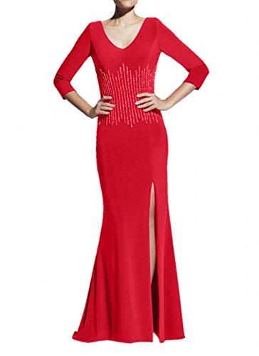 Braut Brautmutterkleider Elegant mit La Chiffon Navy Partykleider Abendkleider Blau Trumpet Marie Pailletten Rot RWgW5