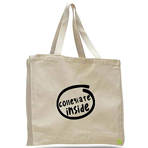 - Collegiate Inside Canvas Tote Bag Cotton messenger b11462 (natural)