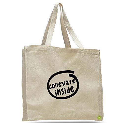 Collegiate Inside Canvas Tote Bag Cotton messenger b11462 (natural)