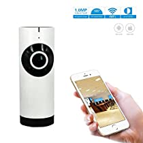 AMKATO 180° Fisheye Wifi 720P Home Security Panoramic IP Camera with IR Nightvision and P2P Camera Support 128G TF Card