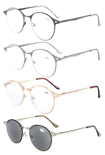 Eyekepper 4-Pack Quality Spring-hinge Small Oval Round Reading Glasses Include Sun-readers (Oval Metal Reading Glasses)