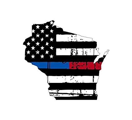 Amazon Wisconsin Tattered Thin Blue Red Line Flag Honoring Our