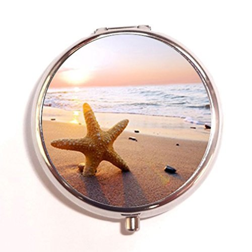 Sunset Scene View Sea Beach and Starfish Custom Unique Silver Round Pill Box Medicine Tablet Organizer or Coin ()