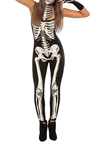 Selowin Womens Funny Halloween Cosplay Costume 3D Skeleton Skinny Full Bodysuit Jumpsuit,Black and White (Strap),Small