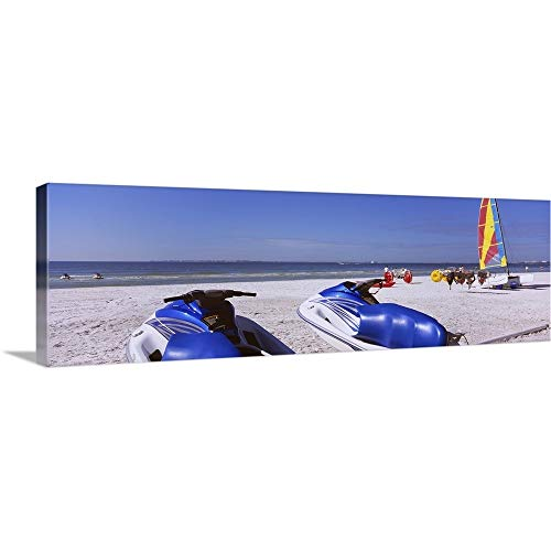 GREATBIGCANVAS Gallery-Wrapped Canvas Entitled Two Jet Boats and a Windsurfing Board on The Beach, Fort Myers Beach, Bowditch Point Regional Park, Gulf of Mexico, Florida by 36