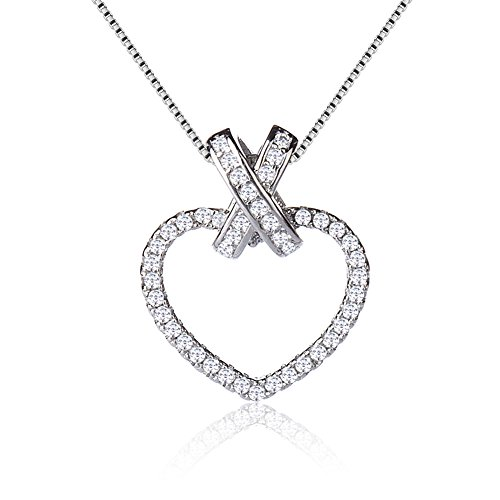 Style Pendent Necklace - Citled Plated Silver Heart Necklace Crystal Necklace Pendant Ocean Heart and Evil Eye and Heart-Shaped and Pull Ring Pendent for Women 4 Styles CZ Inlaid Coming in Gift Box.