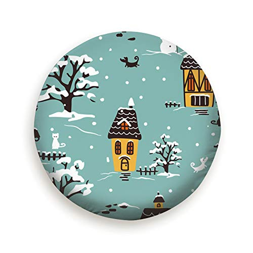 AndrewTop Christmas Winter Village Scene Houses Buildings Landmarks Holidays Cover with Elastic Hem-Durable Design Keeps Dirt, Rain, and Sun Away from Your Spare Tire 17 Inch