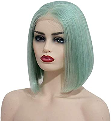 Lace Front Wigs Mint Green 180% Density 8inches Virgin Human ...