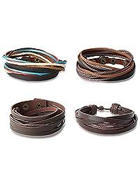 Subiceto 4pcs Mens Genuine Leather Wristband Set Women Multilayer Leather Bracelet Adjustable Leather Wrap Cuff Bracelet