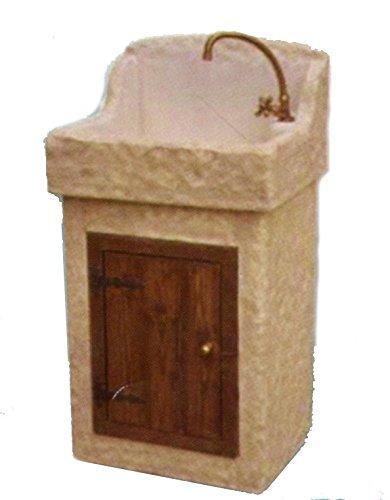 Lavabo Lavello da Giardino a Mobiletto in Pietra - H cm 110x46x55 ...