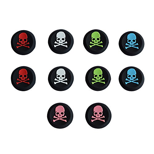 BFU 5 Pair Silicone Skull Analog Controller Joystick Thumb Stick Grip Cap Covers for PS2, PS3, PS4, Xbox 360, Xbox One Analog Stick Caps Replacement
