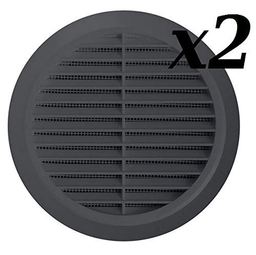 L/üftungsgitter /Ø 100 mm rund graphit grau Kunststoff Insektennetz Abluftgitter Zuluft Abluft Gitter L/üftung T 30gr x 2 stuck