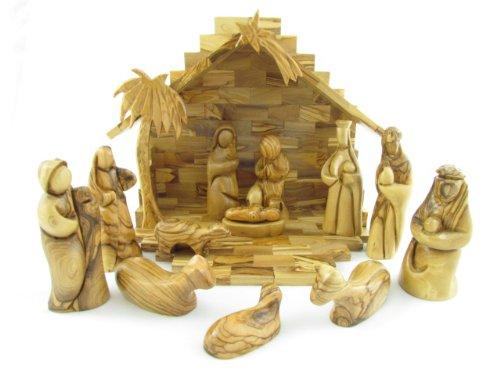 (Olive Wood Large Modern Nativity Set 9.5