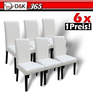 6 Esszimmerstühle Mit Lehne Leder Essgruppe Sitzgruppe Beige   FBEZST01BG6X