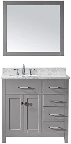 Virtu USA MS-2136R-WMSQ-CG-002 Caroline Parkway Single Bathroom Vanity with Marble Top Square Sink with Polished Chrome Faucet Mirror, 36 inches, Cashmere Gray
