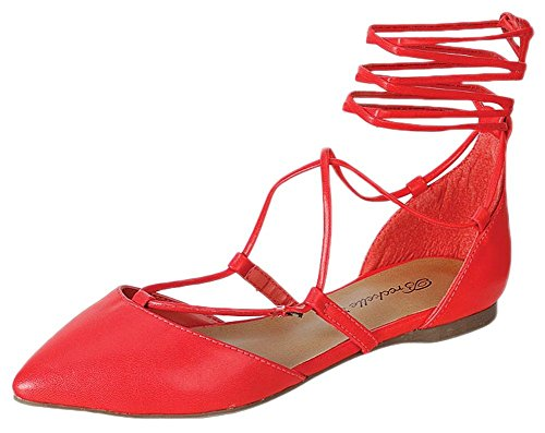 Breckelles EA62 Women Leatherette Pointy Toe Dorsay Gilly Tie Wrap Flat Grapefruit v5dcc3GHCb